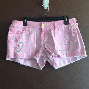 Decree pink distressed shorts